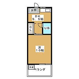 ハイツ木曽路[3階]の間取り
