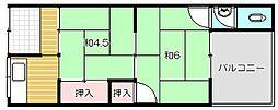 西田文化住宅[2階]の間取り