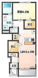 愛知県名古屋市緑区定納山1丁目の賃貸アパートの間取り