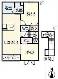 プランドールVII A棟[2階]の間取り