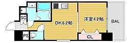 JR大阪環状線 弁天町駅 徒歩9分の賃貸マンション 10階1DKの間取り