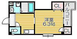 京阪本線 滝井駅 徒歩1分の賃貸マンション 4階1DKの間取り