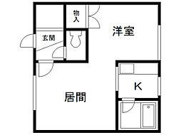 コートハウス愛宕A棟 2階1LDKの間取り