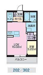 JR奥羽本線 山形駅 幸町下車 徒歩1分の賃貸マンション 3階1LDKの間取り