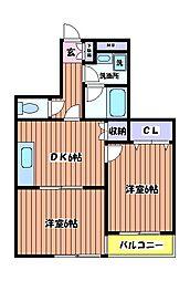 東京都立川市羽衣町2丁目の賃貸マンションの間取り