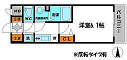 アドバンス大阪城北ルミウス 5階1Kの間取り