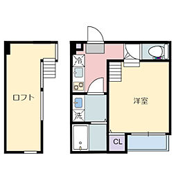 JR仙山線 東照宮駅 徒歩9分の賃貸アパート 2階1Kの間取り