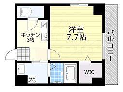 阪急宝塚本線 池田駅 徒歩2分の賃貸マンション 5階1Kの間取り