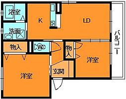 奈良県香芝市五位堂6丁目の賃貸アパートの間取り