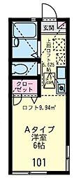 神奈川県横浜市港南区上永谷4丁目の賃貸アパートの間取り