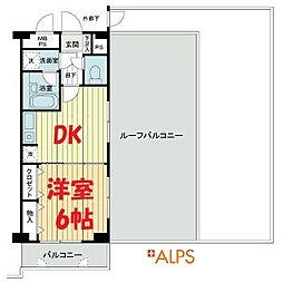 JR京浜東北・根岸線 桜木町駅 徒歩4分の賃貸マンション 6階1DKの間取り