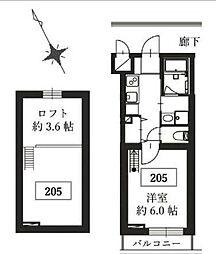東急東横線 都立大学駅 徒歩5分の賃貸マンション 2階1Kの間取り