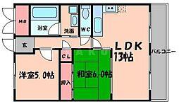 エクセレント都1 3階2LDKの間取り