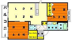 メゾンフロレアーレB[2階]の間取り