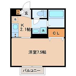 仙台市営南北線 北四番丁駅 徒歩15分の賃貸アパート 2階1Kの間取り
