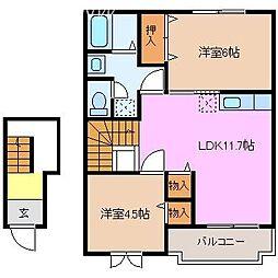 ノーブル D棟[2階]の間取り