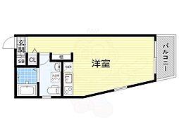 Osaka Metro御堂筋線 なかもず駅 徒歩13分の賃貸マンション 3階ワンルームの間取り