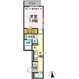 バス 大宝町下車 徒歩3分の賃貸アパート 1階1Kの間取り