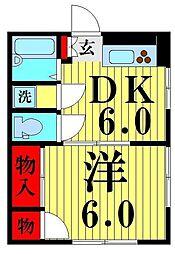 新井コーポ[301号室]の間取り