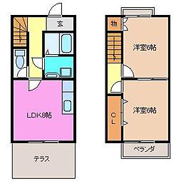 [テラスハウス] 三重県津市港町 の賃貸【/】の間取り