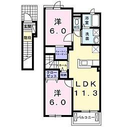西鉄天神大牟田線 蒲池駅 4.8kmの賃貸アパート 2階2LDKの間取り