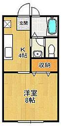 兵庫県西宮市平松町の賃貸アパートの間取り