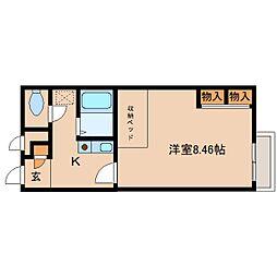 奈良県生駒郡斑鳩町法隆寺南の賃貸アパートの間取り