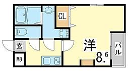 神戸市西神・山手線 妙法寺駅 徒歩6分の賃貸マンション 1階1Kの間取り
