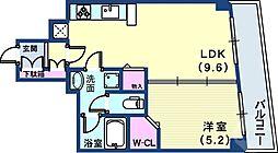 サンビルダー北野異人館通 2階1LDKの間取り