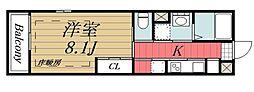 JR総武線 稲毛駅 徒歩10分の賃貸マンション 1階1Kの間取り