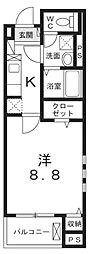 JR中央線 八王子駅 徒歩20分の賃貸マンション 1階1Kの間取り