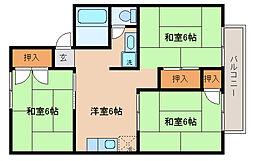 兵庫県神戸市北区南五葉3丁目の賃貸アパートの間取り