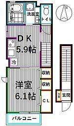 メゾンソレイユ 2階1DKの間取り
