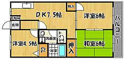 兵庫県明石市大蔵町の賃貸マンションの間取り