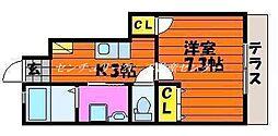 JR山陽本線 東岡山駅 徒歩11分の賃貸アパート 1階1Kの間取り