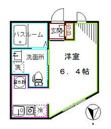 東京メトロ丸ノ内線 中野新橋駅 徒歩7分の賃貸マンション 2階ワンルームの間取り