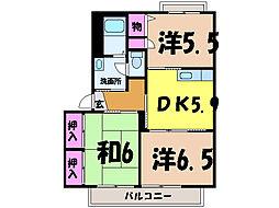 愛媛県松山市東長戸3丁目の賃貸アパートの間取り