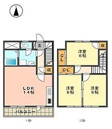 愛知県名古屋市名東区上社5丁目の賃貸マンションの間取り