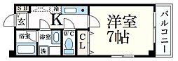 阪急神戸本線 王子公園駅 徒歩4分の賃貸マンション 1階1Kの間取り