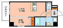 JR鹿児島本線 千早駅 徒歩9分の賃貸マンション 5階1LDKの間取り