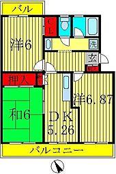 カーサ六高台[2階]の間取り