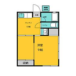 新天荘 1階1Kの間取り