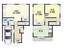 JR和歌山線 大和新庄駅 徒歩10分の賃貸一戸建て 1階3LDKの間取り