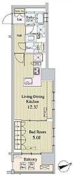 東京メトロ日比谷線 八丁堀駅 徒歩5分の賃貸マンション 7階1LDKの間取り