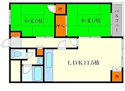 松尾マンション 4階2LDKの間取り