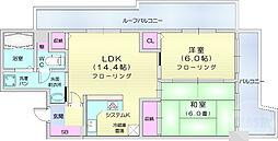 ヴェルドミール支倉 5階2LDKの間取り
