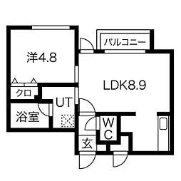 仮)オルセー北17条 4階1LDKの間取り