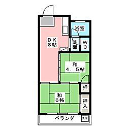 元浜メゾンオーク[4階]の間取り