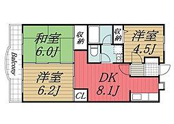 千葉県佐倉市上座の賃貸マンションの間取り