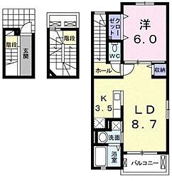 シャンハイム 3階1LDKの間取り
